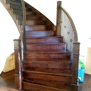 Solid hardwood curved stair