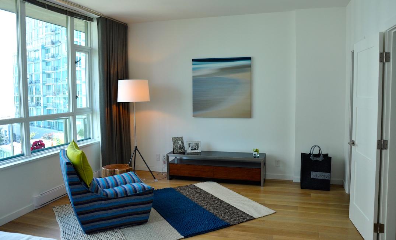 bedroom with engineered hardwood floors  carpet laminate