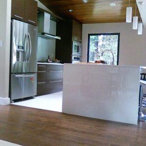 Modern kitchen with hardwood floors
