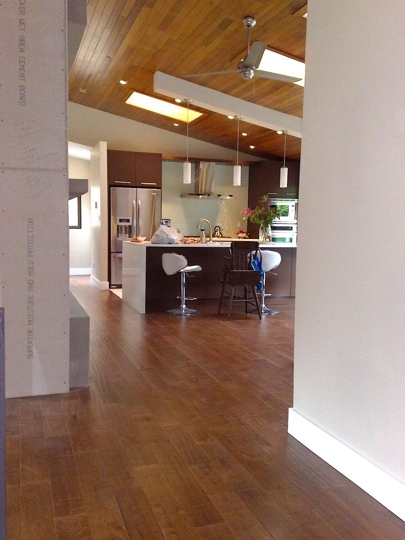 Modern kitchen with hardwood