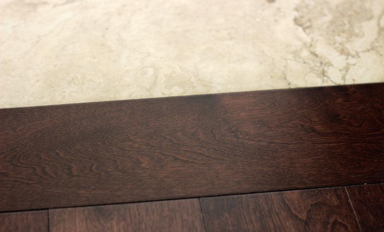 hardwood transitions stripe to tile