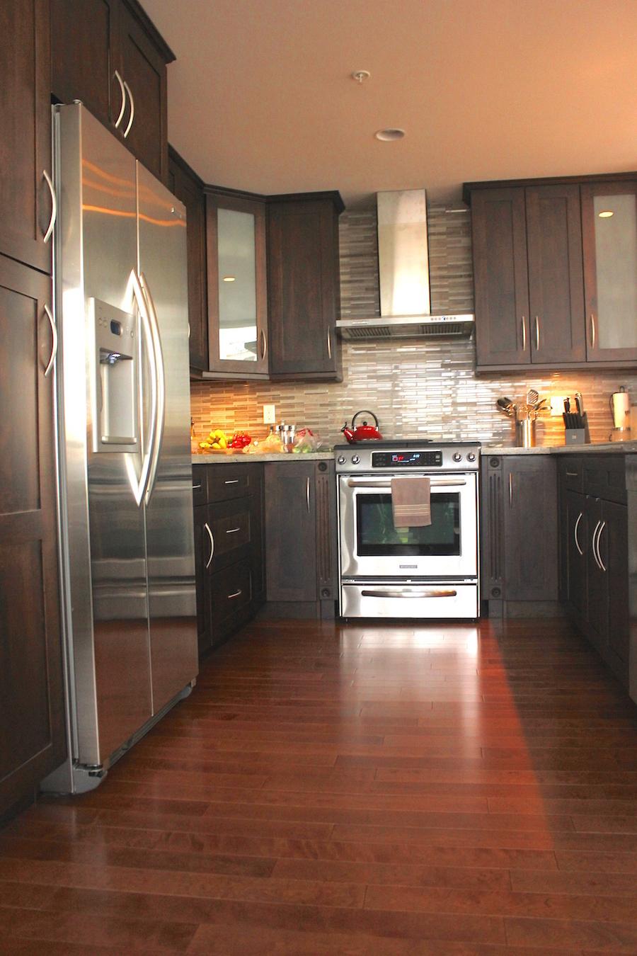 Condo Kitchen with hardwood floors