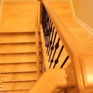 hardwood flooring installation on stairs